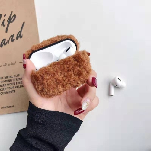 For Apple AirPods Pro Plush Bluetooth Headphone Protective Case(Brown) фото