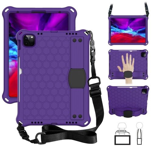 For iPad Pro 11 2020 Honeycomb Design EVA + PC Four Corner Anti Falling Flat Protective Shell With Straps(Purple+Black)