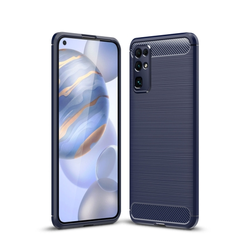 For Huawei Honor 30 Brushed Texture Carbon Fiber TPU Case(Navy Blue)