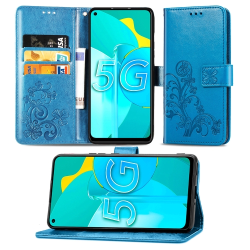 For Huawei Honor 30S Four-leaf Clasp Embossed Buckle Mobile Phone Protection Leather Case with Lanyard & Card Slot & Wallet & Bracket Function(Blue)