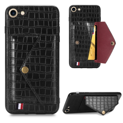 For iPhone 6/6S Crocodile Pattern PU+TPU+PVC Shatter-resistant Mobile Phone Case with Magnetic Invisible Holder & Holder & Card Slots(Black)