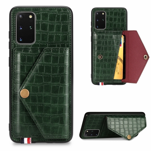 For Galaxy S20 Plus Crocodile Pattern Envelope Card Package Phone Case With Magnet And Bracket Function(Green)