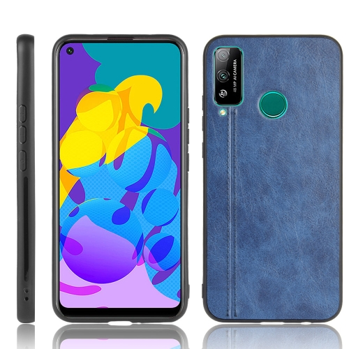 For Huawei Honor Play 4T Shockproof Sewing Cow Pattern Skin PC + PU + TPU Case(Blue)
