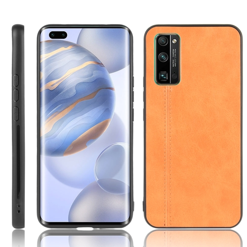 For Huawei Honor 30 Pro Shockproof Sewing Cow Pattern Skin PC + PU + TPU Case(Orange)
