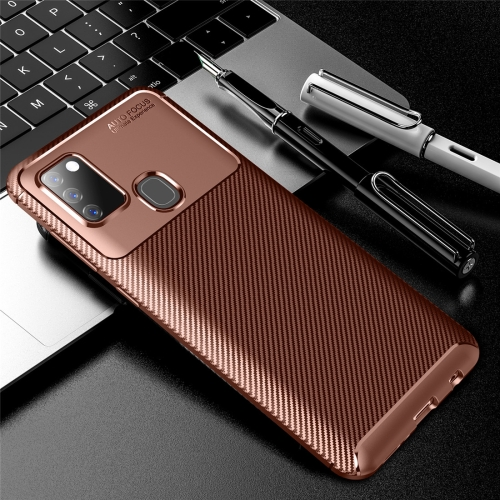 For Galaxy A21s Carbon Fiber Texture Shockproof TPU Case(Brown)