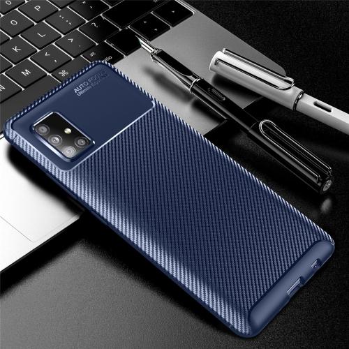 For Galaxy A51 5G Carbon Fiber Texture Shockproof TPU Case(Blue)