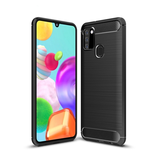 For Galaxy A21s Brushed Texture Carbon Fiber TPU Case(Black)