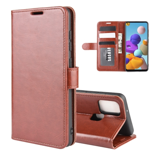 For Galaxy A21s R64 Texture Single Horizontal Flip Protective Case with Holder & Card Slots & Wallet& Photo Frame(Brown)