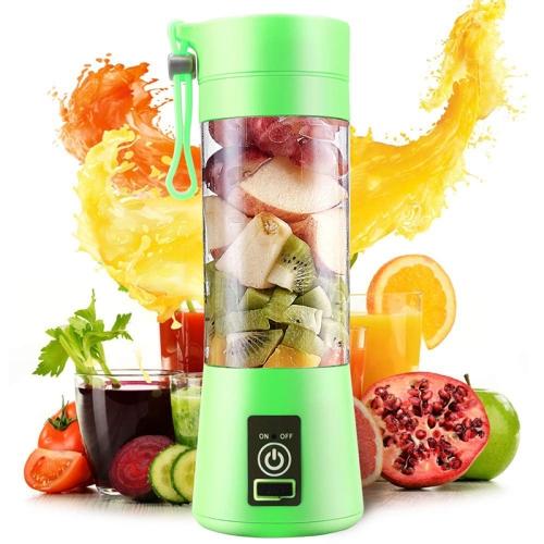 380ml 6 Blender Juicer Cup USB Rechargeable Electric Automatic Vegetable Fruit Citrus Orange Juice Maker Cup Mixer Bottle(6 Blades Green)