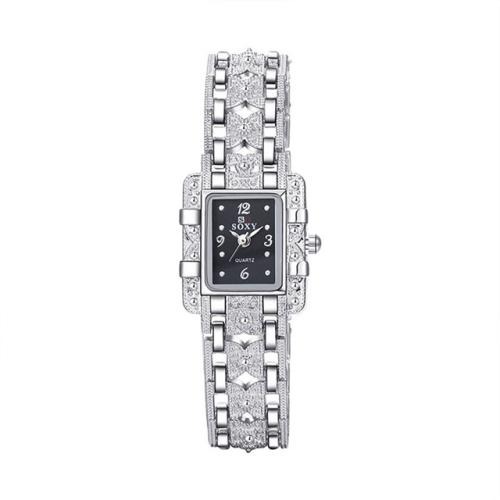 Square Dial Stainless Steel Strap Quartz Watch(Black)