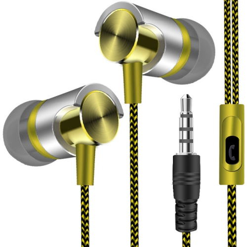 Metal Wired Earphone Super Bass Sound Headphones In-Ear Sport Headset with Mic for Xiaomi Samsung Huawei(YELLOW)