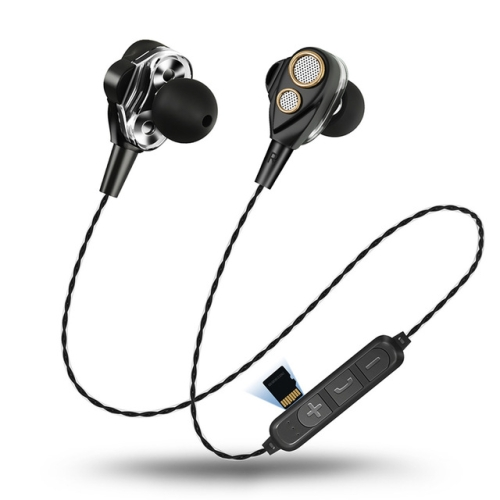 Four Speakers 6D Surround Sound Bluetooth Earphones for Mobile Phone, with TF Card Slot(Black)