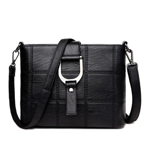 Luxury Messenger Bags Woman Bag Leather Shoulder Bags Tote Bag(Black)