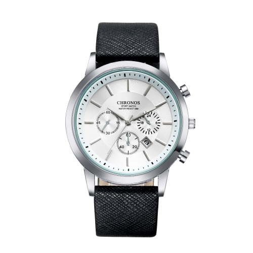 CHRONOS CH0401 Three-eye Six-needle Leather Belt Sports Watch for Men(Black and White)