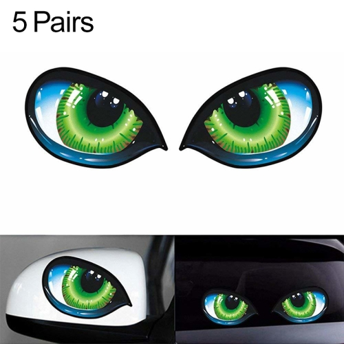5 Pairs D 601 3D Stereo Reflective Cat Eyes Car Sticker Adhesive Creative Rearview Mirror Decal, Size: 12x7.5cm фото