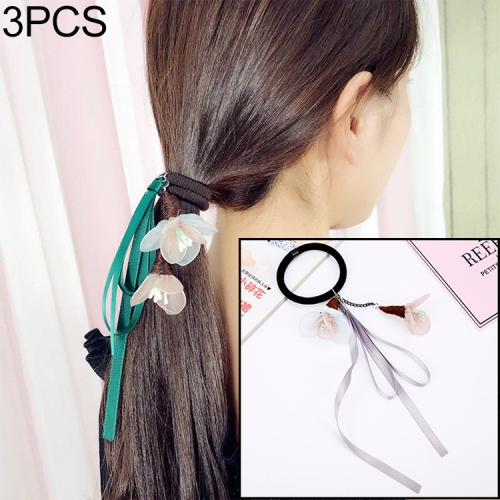 3 PCS Women Elastic Hair Bands Elegant Girl Ribbon Flower Rubber Bands Ponytail Holder Hair Accessories(Pink flower/grey band)