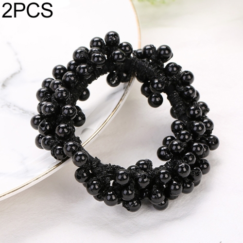 2 PCS Pearls Beads Hair Accessories Cute Elastic Hair Bands Women Hair Rope Scrunchies Ponytail Holders Rubber Bands(Black)