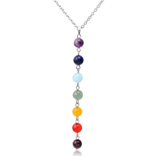 7 Color Natural Stone Beads Pendant Necklace Women Yoga Reiki Healing Balancing Necklaces Charms Jewelry