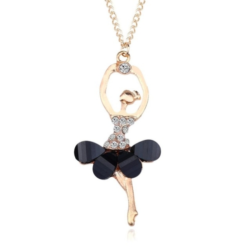 Women Ballerina Girl Necklace Exquisite Shimmer Rhinestone Pendant Necklace(Black)