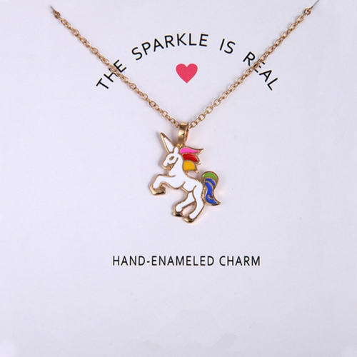 Women Necklaces Pendants Charm Clavicle Chains Chic Beautiful Necklaces Gift(White horse gold chain)