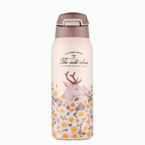 Portable Stainless Steel Sports Mug vVcuum Water Bottle with Straw Light Yellow, Capacity:450ml