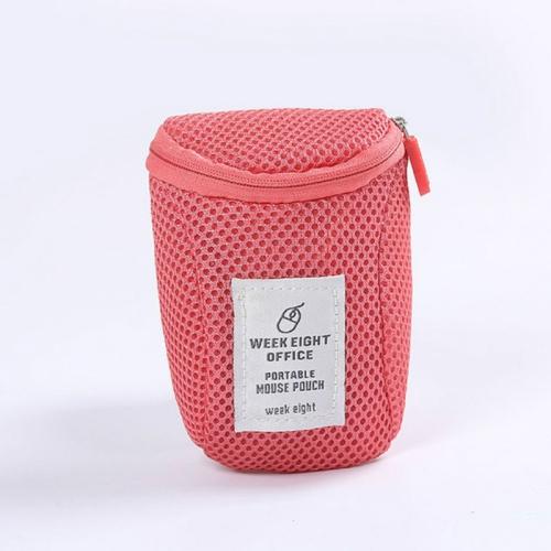 2 PCS Mouse Storage Bag Travel Portable Shockproof Digital Protective Case(Rose Red)