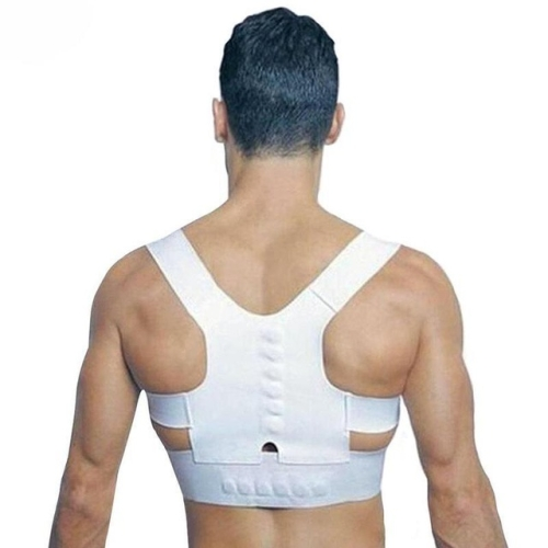Magnetic Therapy Posture Corrector Brace Shoulder Back Support Belt for Men Women Adult Braces Supports Upper Correction Corset, Size:S(White)