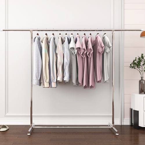 120-200cm Telescopic Drying Rack Outdoor Calcony Storage Shelf Stainless Steel Hanger Single Rod Clothes Rack(Silver)