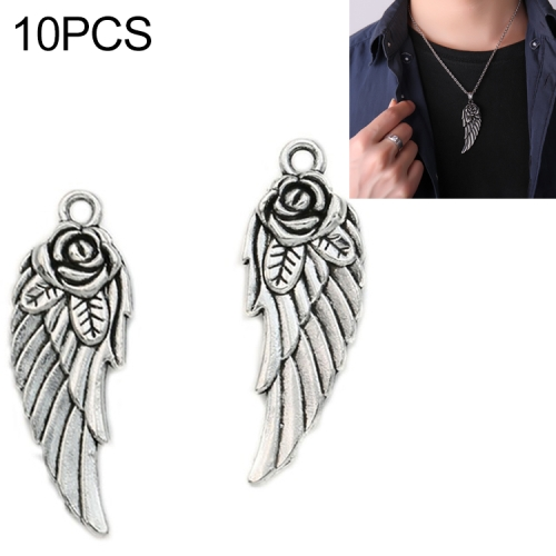 10pcs Antique Silver Angel Wings Charm for Jewelry Making Bracelet Accessories
