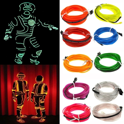 Flexible LED Light EL Wire String Strip Rope Glow Decor Neon Lamp USB Controlle 3M Energy saving Mask Glasses Glow Line F277, Random Colors Delivery
