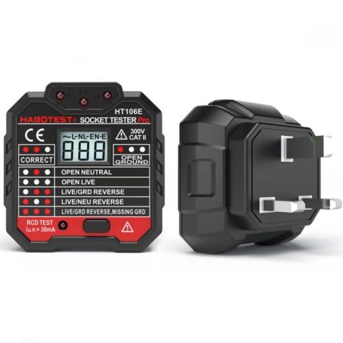 HT106 Socket Testers Voltage Test Detector Ground Line Neutral Line Live Line Leakage Electroscope(UK Plug)