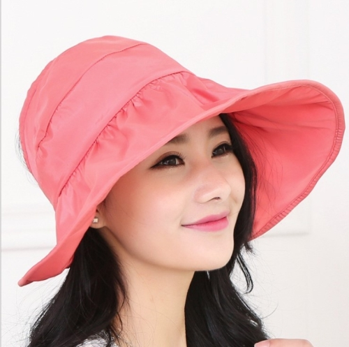 Wide Large Brim Hat Summer UV Protection Thin Hat 2 in 1 Beach Hat(Watermelon red)