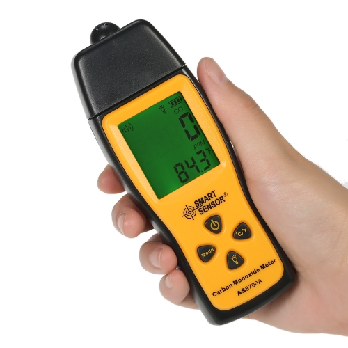 Smart Sensor AS8700A Handheld Carbon Monoxide Meter High Precision Digital CO Leak Detector Analyzer, Sound Light Alarm, Range: 0-1000ppm
