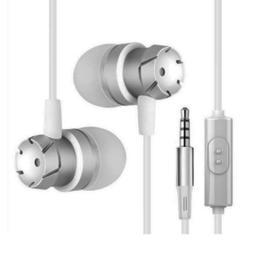 3.5mm Wired Headphones Handsfree Headset In Ear Earphone Earbuds with Mic for Xiaomi Phone MP3 Player Laptop(Silver)