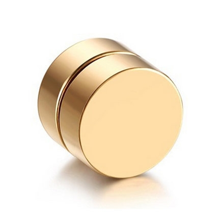 1Piece Punk Unisex Strong Magnet Magnetic Ear Stud Non Piercing Earrings Fake Earrings Gift 6mm(Gold)