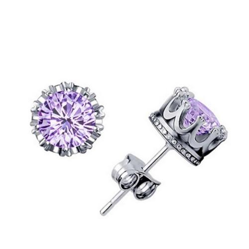 Women Crown Earrings Crystal Jewelry Double Stud Earrings (Silver + Purple)