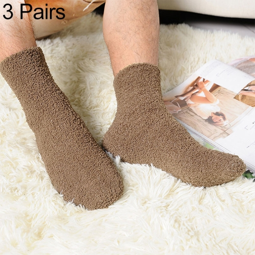3 Pairs Winter Warm Comfortable Cashmere Socks for Men and Women(Coffee)