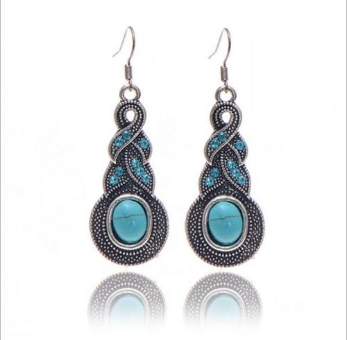 Tibetan Silver Pendant Earrings Natural Stone Drop Silver Pendant Earrings for Women, Metal color:Water
