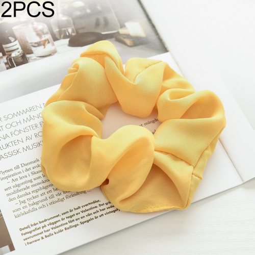 2 PCS Large Intestine Ring Hair Band Women Fabric Ponytail Seamless Stretch Hair Jewelry(Yellow)