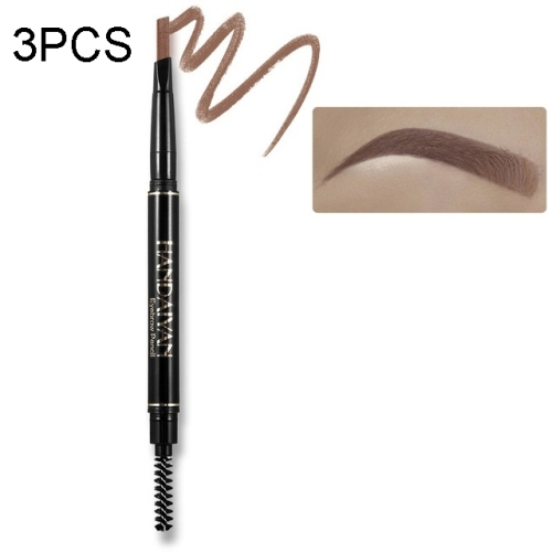 3PCS HANDAIYAN Waterproof Long Lasting No Blooming Rotatable Triangle Ended Eyebrow Pencil(03 Brown)