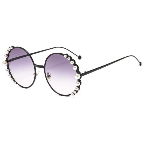 Women Sunglasses Metal Round Frame Pearl Embellished Sunglasses(Black Frame Grey Lens)