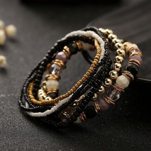 Women Four Seasons Bohemian Multi-layer Beaded Elastic Bracelet(black)