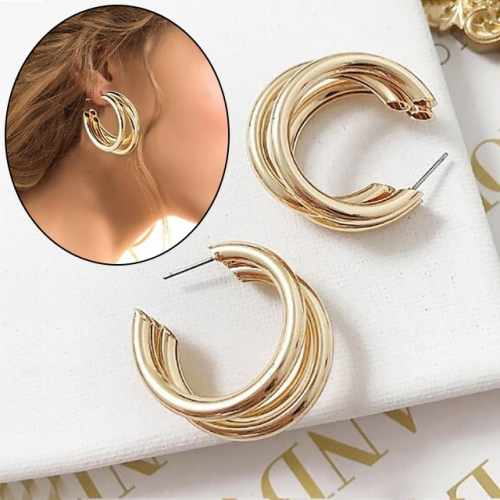 Trendy Round Small Hoop Smooth Earrings Simple Style Charm Earings For Women(golden)