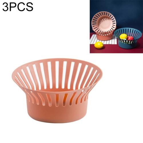3 PCS Creative Kitchen Simple Fruit Vegetable Storage Basket Snack Storage Basket Drain Basket(Brick Pink)