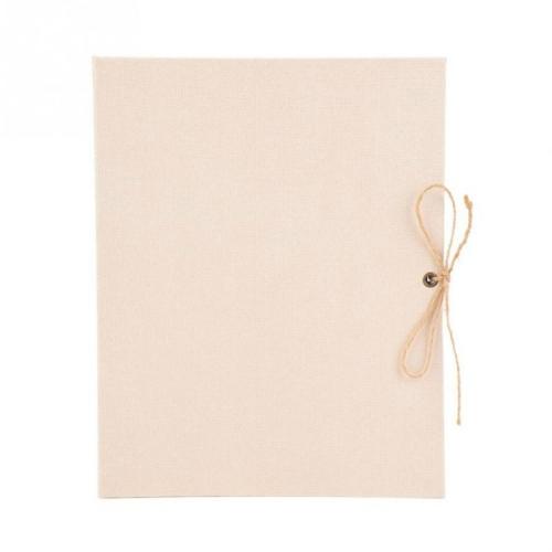 10 inch Vertical Photo Album Hand-paste Linen Album Children Growth Creative Gift Album(Beige)