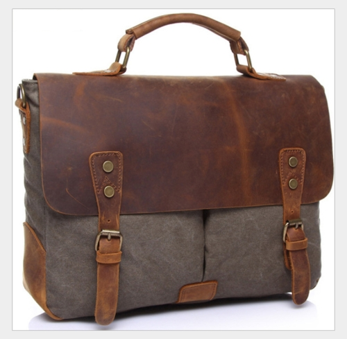 Vintage Handbag Genuine Leather Shoulder Bag Messenger Laptop Briefcase(Grey)