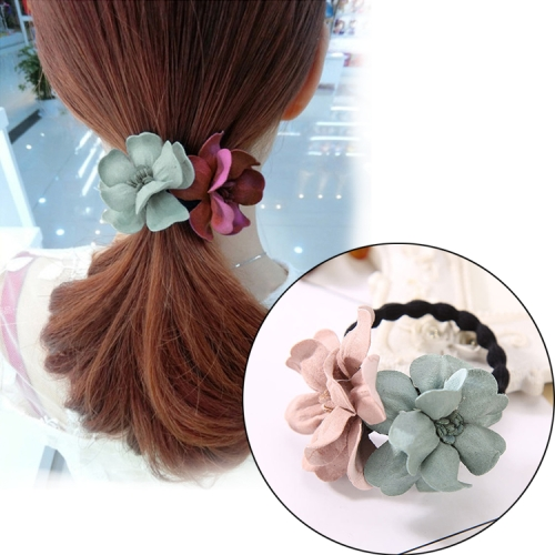 Flower Shape Hair Rope Rubber bands Elastic Hair Bands Hair Ring(Pink Green)
