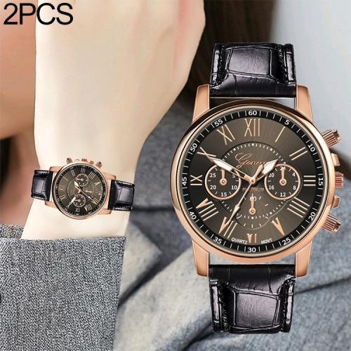 2 PCS Three-eye Six-needle Imitation Belt Quartz Watch for Women / Men(Black)