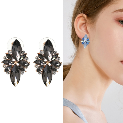 Five-leaf Petal Crystal Earrings Pink Diamond Earrings Simple Jewelry(black)