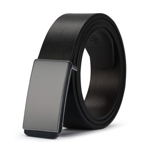 Men's Leather Belt Strap Smooth Buckle Vintage Belt, Belt Length:120cm(gun plane)